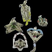 5 Mercury Glass Ornaments Rocket ship/zeppelin, star, heart, basket, and chandler..Gablonze