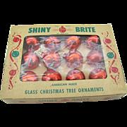 1940's Shiny Bright small Red ornaments in Original box