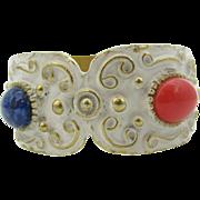 FLORENZA Enameled with oval Cabochon hinged Bracelet