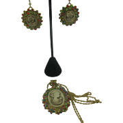 Nice Cameo set Necklace and earrings piercedc