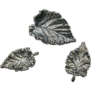 Napier Silver Leaf pin and earring set
