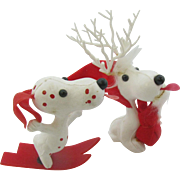 Two 60's Snoopy ornaments plastic