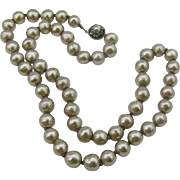 Miriam Haskell Glass Baroque Faux Pearl Necklace 22""