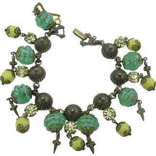 Very Unique green and yellow glass dangle bracelet