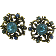 CORO antique gold tone and blue earrings
