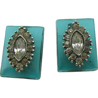 1930's Aqua blue glass earrings with sterling setting and clear stones