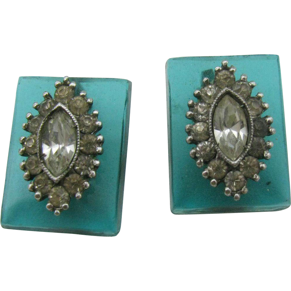 1930 S Aqua Blue Glass Earrings With Sterling Setting And