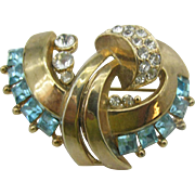 Wonderful old stylized pin in aqua blue and clear