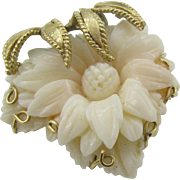Exquisite Angel Skin Coral Flower brooch set in 14K gold setting