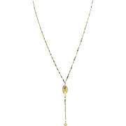 Beautiful 14K Gold drop faceted Y necklace