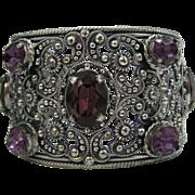 Vintage Napier Amethyst-Colored Foil-Backed Rhinestone Repousse Cuff Bracelet