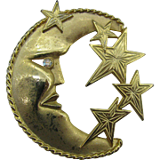 J.J gold tone Moon and Stars Brooch