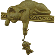 J.J Cat and mouse brooch gold tone