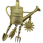 J.J Garden theme brooch watering can and tools