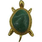 AVON unique Turtle brooch with large green glass body