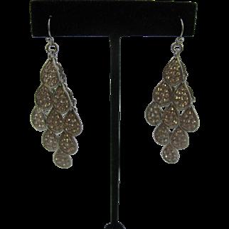 Over the top vintage rhinestone set dangle earrings Pierced