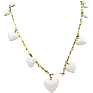 """32"""" long gold tone Chain with Hearts Necklace"""