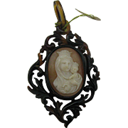 Madonna and Child Cameo pendent set in Tortoise celluloid