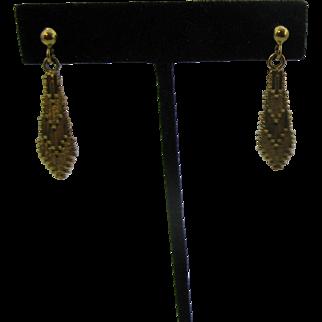 Gold over sterling woven earrings Pierced