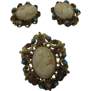 Florenza Cameo set Brooch and earrings with purple and blue