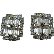 Sparkling clear Rhinestone clip on earrings