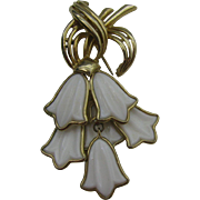 CoroCraft dangling white glass flowers Brooch