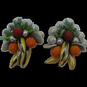 Carmen Miranda Fruit salad earrings clip on