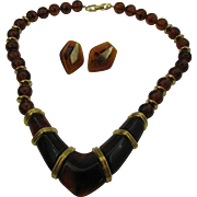 Napier Lucite Necklace and earring set in brown swirl