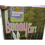 Vintage 1974 Wood Bunny and Cart Craft KIt