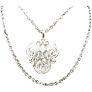 Trifari double chain neat swirled pendent Necklace in silver tone