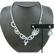 Vintage 1950's blue Rhinestone Necklace and earrings