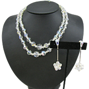 Double strand Clear faceted Crystal Necklace with drop earrings