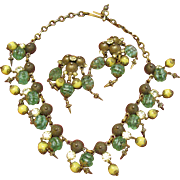 Very Cool Necklace and earring set in greens and lemon yellow glass