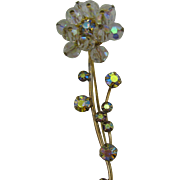 Clear faceted Crystal Flower pin with AB rhinestones