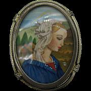 Vintage Hand Painted Miniature Portrait 800 Silver Madonna? Pin Pendant
