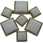 1950's Modern look  White Plastic Brooch