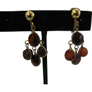 Dangle Amber earrings clip on