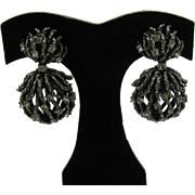 Schiaparelli Earrings in antique silver tone metal with clear Rhinestones