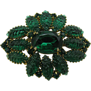 Wonderful Green Rhinestone pin with molded stones