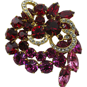 Stunning Fuchsia and Red Brooch in the Eisenberg Weiss style