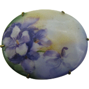 Hand Painted on Porcelain Oval Pin Violets