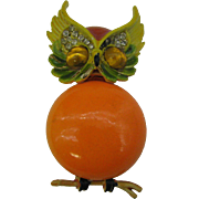 Signed ART Cute as a Button Orange Owl Pin