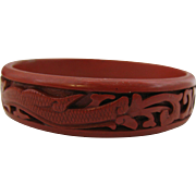 Beautiful Cinnabar Bangle Bracelet with dragons