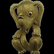 Trifari Sweet wonderful Baby Elephant pin trunk up good luck 10 DOLLAR SPECIAL