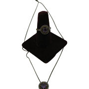 Diamond and Amethyst Necklace and ring in sterling and 14K gold
