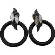 Sterling silver Marcasite mother of pearl and black glass earrings Pierced