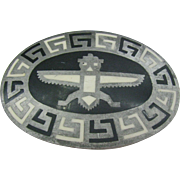 Unique Belt buckle with Greek key design and bird man