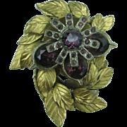 Wonderful brass and purple glass dress clip