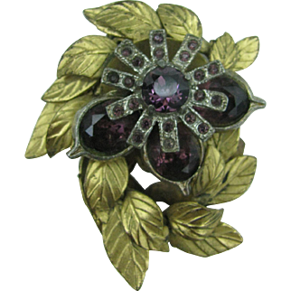 Wonderful brass and purple glass dress clip 10 DOLLAR SPECIAL