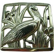 Sterling Craft by Coro Framed water bird pin